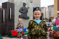Young soldier of airborne forces. Day military air forces in Russia Stock Photos