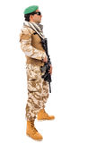 Young soldier in army clothes with  gun Stock Photos
