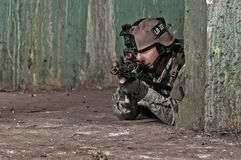 Young Soldier Behind Obstacle Royalty Free Stock Photo