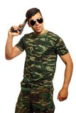 Young soldier with gun Stock Image