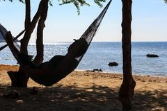 Young soldier on the hammock beside the sea Royalty Free Stock Photos