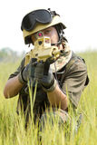 Young soldier in helmet targeting Royalty Free Stock Photo