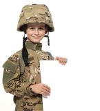 Young soldier holding a poster Royalty Free Stock Images