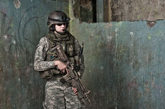 Young soldier on patrol Royalty Free Stock Photography