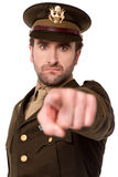 Young soldier pointing towards camera Stock Image