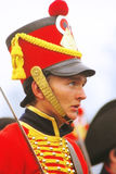 Young soldier in red uniform at Borodino Royalty Free Stock Photos