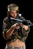 Young soldiers with guns Royalty Free Stock Photography