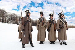 Young soldiers at historical reconstruction Stock Image