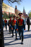 Young soldiers march in Alexanders garden in Moscow. Royalty Free Stock Photos