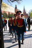 Young soldiers march in Alexanders garden in Moscow. Stock Image