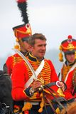 Young soldiers in red uniform at Borodino Royalty Free Stock Photo