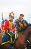 Young soldiers in red uniform at Borodino Stock Photography