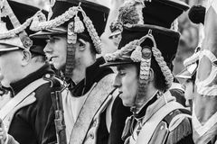Soldiers of the french napoleonic army - Black and white Royalty Free Stock Image