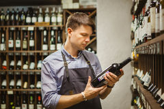 Young sommelier holding bottle of red wine in cellar Stock Image