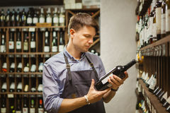 Young sommelier holding bottle of red wine in cellar. Reading information on sticker about drink. Thoughtful expert in winemaking on background of shelves with royalty free stock photo