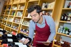 Young sommelier holding bottle wine Stock Images