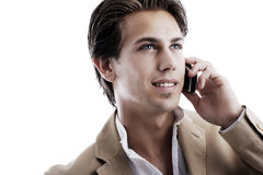 Young sophisticated businessman on the phone Stock Photos