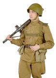 Young Soviet soldier with machine gun ppsh-41 Stock Photography