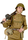 Young Soviet soldier with machine gun Royalty Free Stock Photos