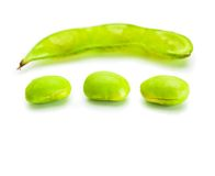 Young soy bean isolated on white. Royalty Free Stock Images