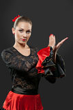 Young spanish flamenco dancer in full action Stock Images