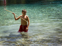 Young Spear Fisherman - Morrison Springs Stock Image