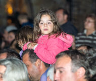 A young spectator at the Nestinar Games in the village of Bulgari, Bulgaria Stock Photography