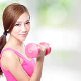 Young sport girl with dumbbells Stock Photography