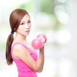 Young sport girl with dumbbells Stock Images