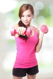 Young sport girl with dumbbells Stock Photos