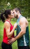 Young sport kissing couple Stock Photo
