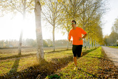 Young sport man running outdoors in off road trail ground with trees Stock Image