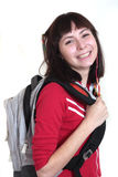 Young sport woman. Young brunette woman with sport bag Stock Images