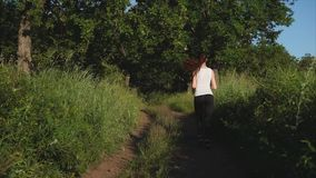 Young sport woman jogs in a park along a path among green trees. stock footage