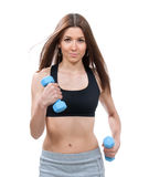 Young sport woman run or jogging with weights Royalty Free Stock Photography