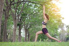 Young sport woman stretching relaxation warm up before exercise. Stock Image