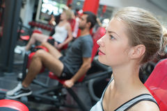Young sporting woman in gym Stock Photo