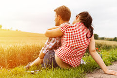 Young sportive couple hiking outside stock photo