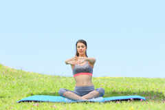 Young sportive woman relaxing on mat in the fields of green grass. Young fitness woman doing stretching exercises outside royalty free stock image