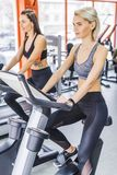 young sportive women working out on elliptical machines stock image