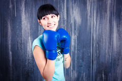 The young sports girl with dark hair Royalty Free Stock Photos