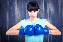 The young sports girl with dark hair Royalty Free Stock Photography