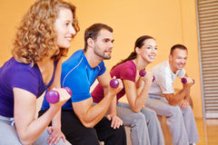 Young sports group with dumbbells. Young smiling sports group exercising with dumbbells in a gym Royalty Free Stock Photography