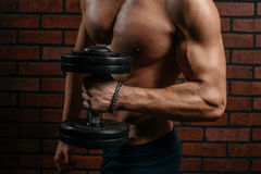 Young sports guy trains the biceps. In the gym Stock Photos