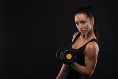Young sports-looking nice lady with dark hair Stock Images