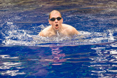 The young sports swimmer in pool Royalty Free Stock Image