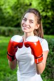 Young sports woman in the park Stock Photography