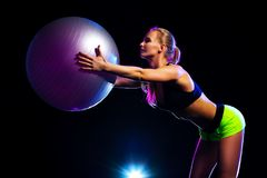 Woman with fitness ball Royalty Free Stock Photo