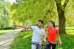 Young sports women, men enjoys driving and bright sunshine. Group of young people enjoying the driving and bright sunshine, having fun riding on a bicycle Stock Photos