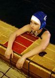 Young sportsman. The young tired girl - sportsman at pool stock image